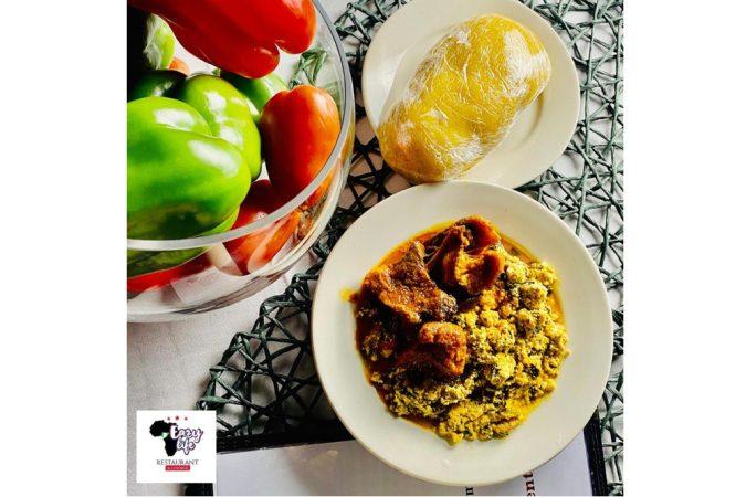 Nigerian Egusi Soup with Eba